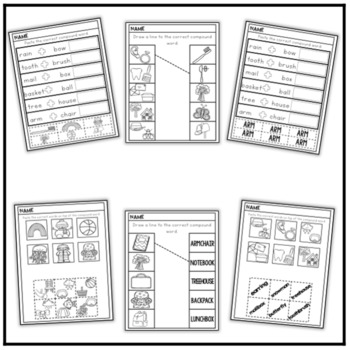 Compound Words Puzzles, Cut and Paste Activities, and Worksheets!