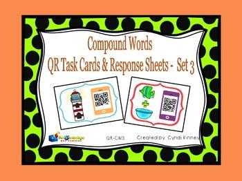 Compound Words QR Task Cards & Response Sheets - Set 3