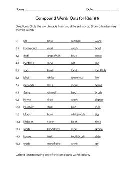 Compound Words Quiz for Kids #6