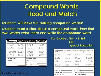 Third Grade Langauge - Compound Words - Mix and Match