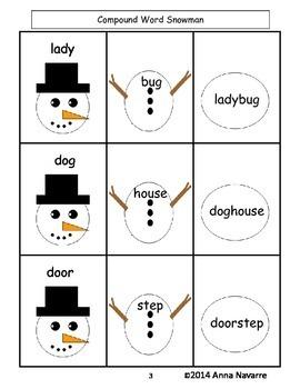 Compound Words Snowman FREEBIE!