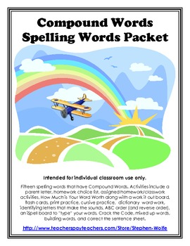 Compound Words Spelling Basic Word Work Packet