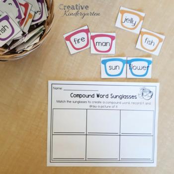 Compound Words Sunglasses Literacy Center Activity