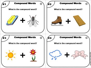 Compound Words Task Cards 2nd, 3rd, 4th Grade (Vocabulary Practice)