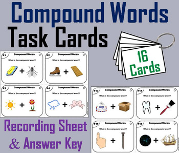 Compound Words Task Cards 2nd, 3rd, 4th Grade (Vocabulary