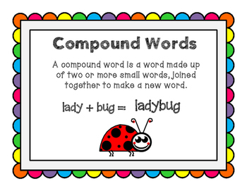 Compound Words Task Cards and Worksheets