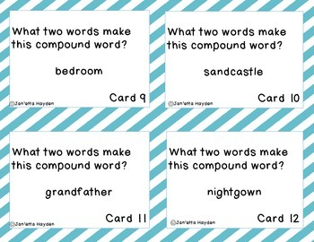 Compound Words Task Cards or Scoot-Literacy Center Activity