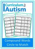 Compound Words Vocabulary Match Autism Special Education