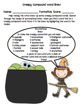 Halloween Compound Words for First and Second Grade