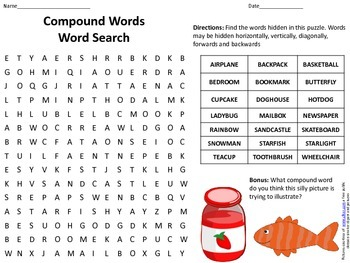 Compound Words Word Search w/ answer key