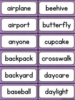 Compound Words Word Wall Cards and Center Activity
