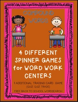 Compound Words Word Work Game & Back to School Wordsearch