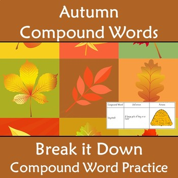 Compound Words Worksheet Autumn Fall Themed Words