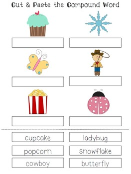 Compound Words Worksheet & File Folder Game Cut Outs