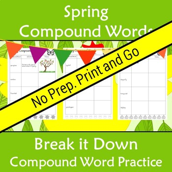 Compound Words Worksheet Spring Themed Words