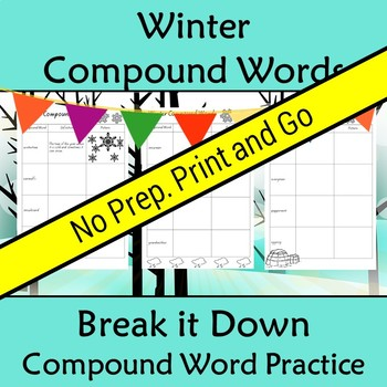 Compound Words Worksheet Winter Themed Words