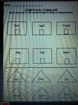 Compound Words Worksheet for Kindergarten and/or First Grade