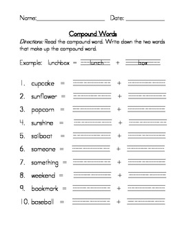compound words worksheets by leticia gallegos teachers pay teachers. Black Bedroom Furniture Sets. Home Design Ideas