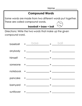 Compound Words - Worksheets 2