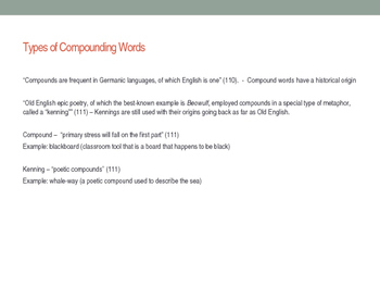 Compound Words as Kennings