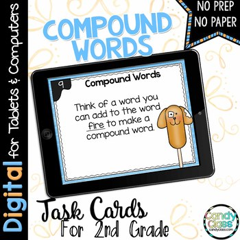 Compound Word Digital Task Cards - Challenge Set - Paperless for Google Use