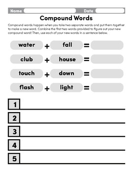 Compound Words with Sentences