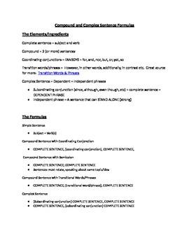 Compound and Complex Sentence Notes/Handout