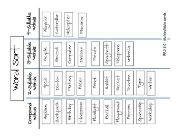 Compound and Multi-Syllable Word Sort