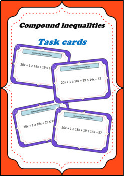 Compound inequalities Task cards game