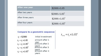 Compound interest with geometric sequence and series.