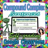 Compound or Complex Sentences Activity Google Classroom Digital Task Cards