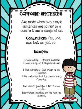 Compound sentences anchor chart