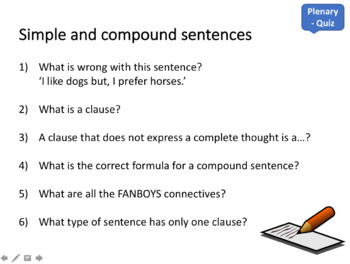 Compound sentences and FANBOYS - 1 hour resourced and differentiated lesson
