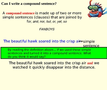Compound sentences powerpoint for Years 5 and 6