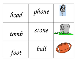 Compound word cards with pictures