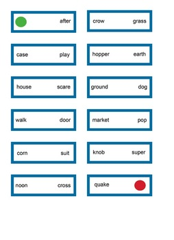 Compound word domino and memory games, first - second grade