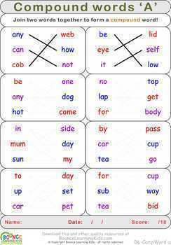 Compound words (18 distance learning worksheets for Literacy)