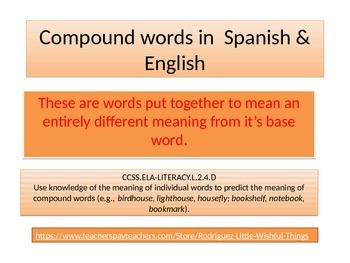 Compound words in Spanish & English