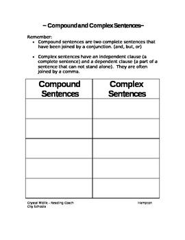 Compound/Complex Cut & Paste Activity