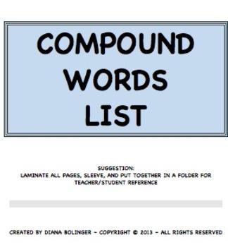 Compounds Word List