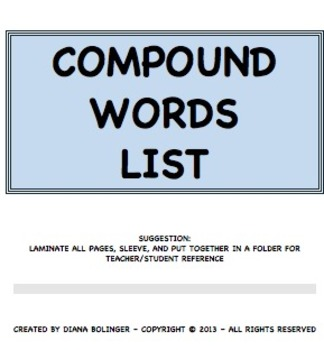 Compounds Word List