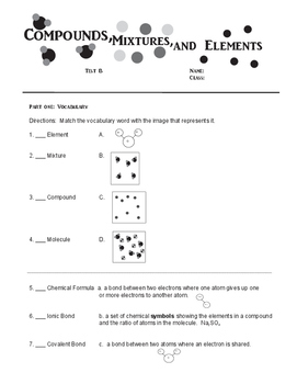 Compounds, mixtures and elements text- sped,esl, ELL