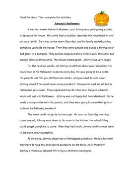 Comprehension Activity: Johnny's Halloween