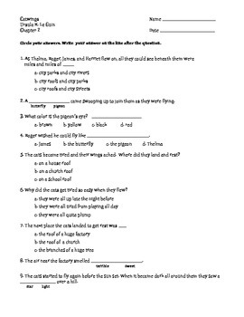 """Comprehension Assessment Questions for the Book: """"Catwings"""""""