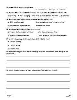 Comprehension Assessment Questions for the Book: Sarah, Plain and Tall