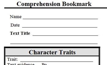 Comprehension Bookmark - Character Traits, Interpreting th
