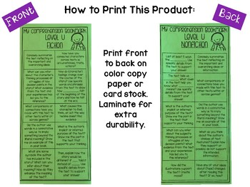 Comprehension Bookmarks for Reading Levels