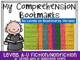 Comprehension Bookmarks for Reading Levels-NO LEVELS ON BOOKMARKS