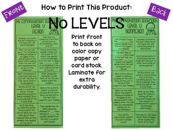 Comprehension Bookmarks for Reading Levels-NO LEVELS ON BOOKMARKS