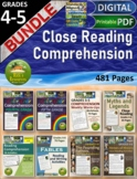 Close Reading Comprehension Activities Bundle for 4th grade, 5th grade